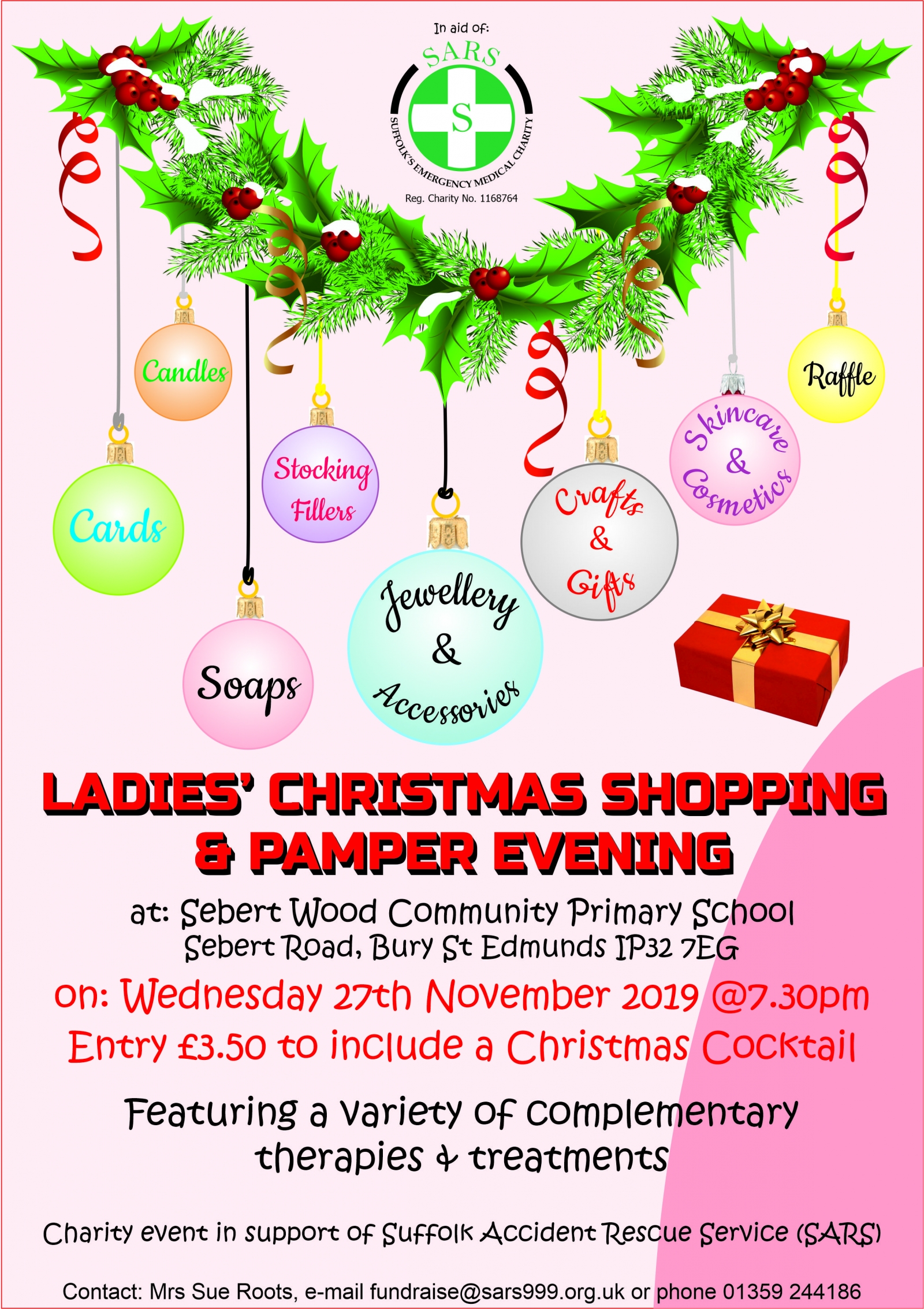 Ladies Christmas Shopping & Pamper Evening in aid of SARS